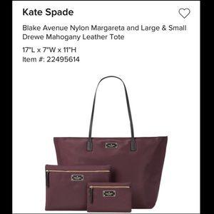 Kate Spade leather tote bag trio